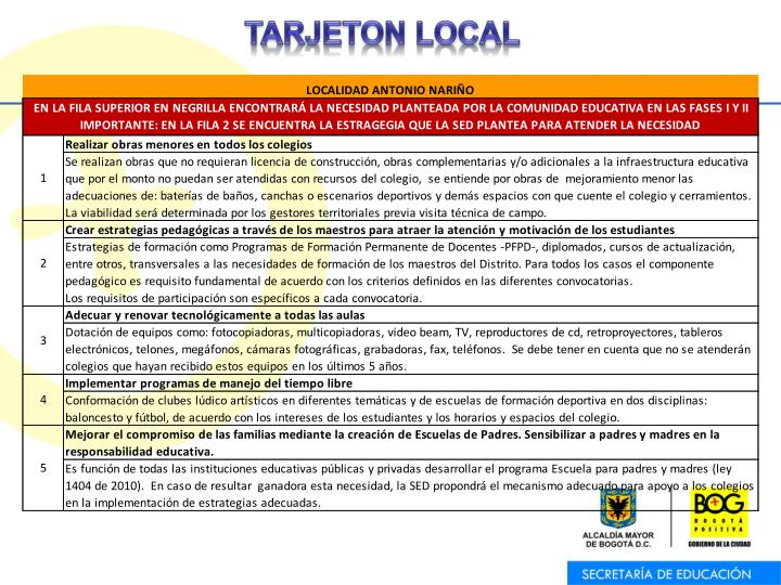 TARJETON LOCAL