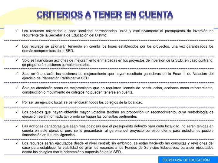CRITERIOS A TENER EN CUENTA