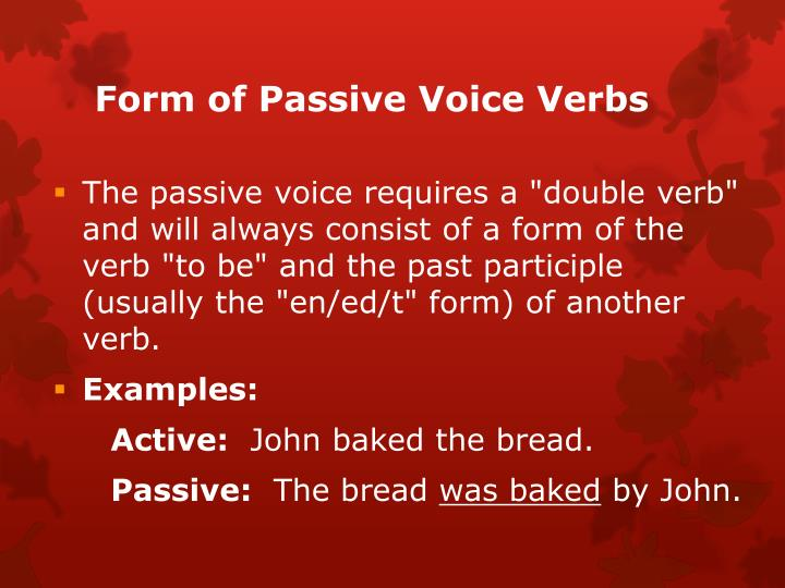 Form of Passive Voice Verbs