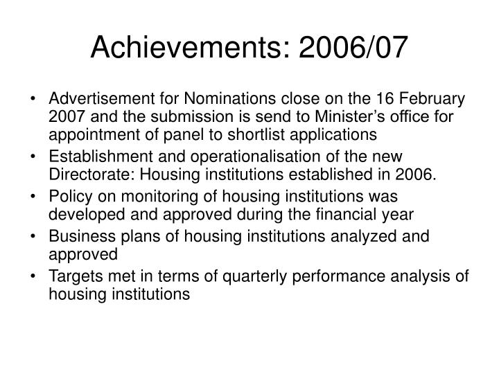 Achievements: 2006/07