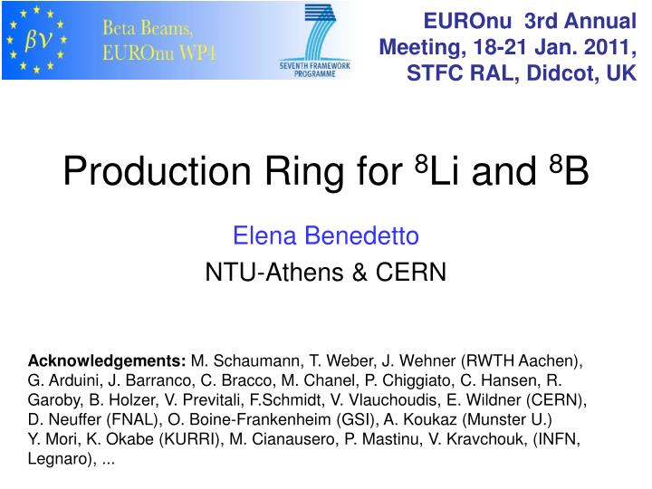 production ring for 8 li and 8 b n.