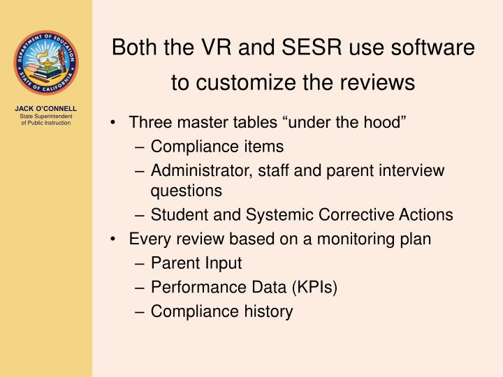 Both the VR and SESR use software to customize the reviews