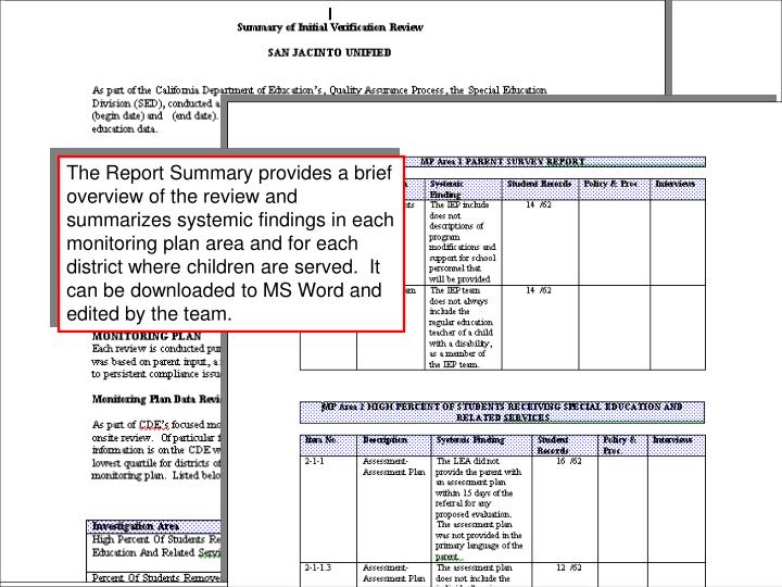 The Report Summary provides a brief overview of the review and summarizes systemic findings in each monitoring plan area and for each district where children are served.  It can be downloaded to MS Word and edited by the team.