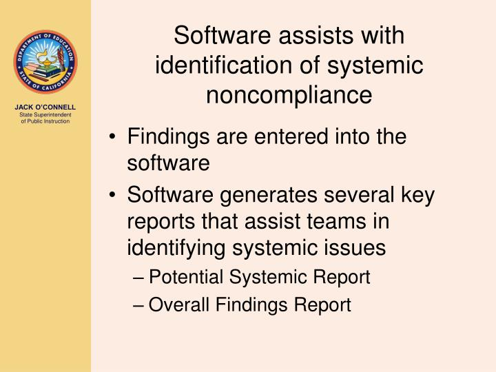 Software assists with identification of systemic noncompliance
