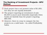 the ranking of investment projects npv method1