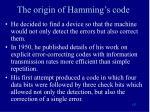 the origin of hamming s code