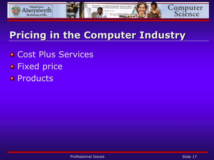 Pricing in the Computer Industry