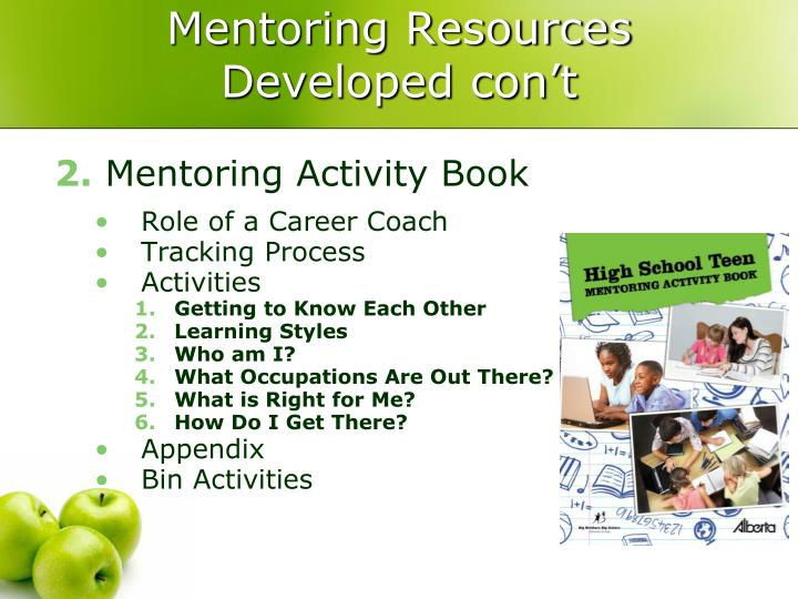 Mentoring Resources Developed con't
