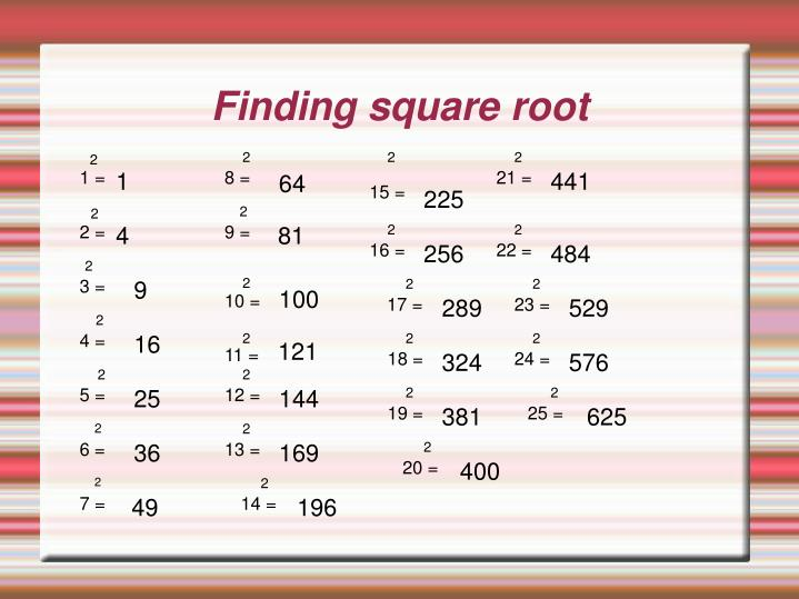 Ppt Finding Square Root Powerpoint Presentation Free Download Id 5869003 Create your own flashcards or choose from millions created by other students. ppt finding square root powerpoint