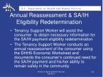 annual reassessment sa ih eligibility redetermination