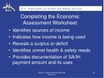 completing the economic assessment worksheet