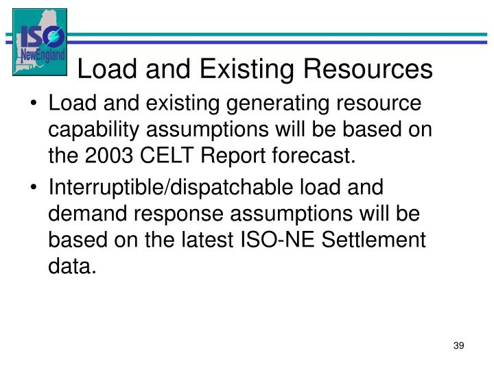 Load and Existing Resources