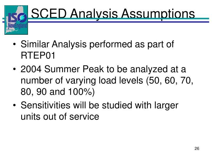 SCED Analysis Assumptions