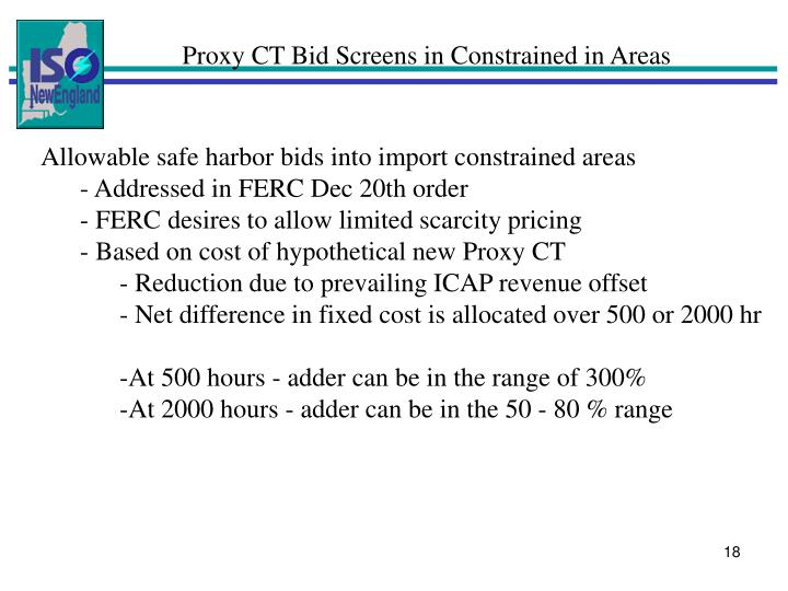 Proxy CT Bid Screens in Constrained in Areas