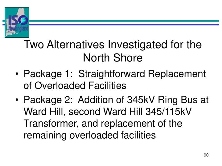 Two Alternatives Investigated for the North Shore