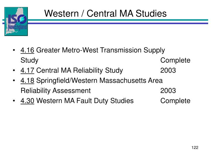 Western / Central MA Studies