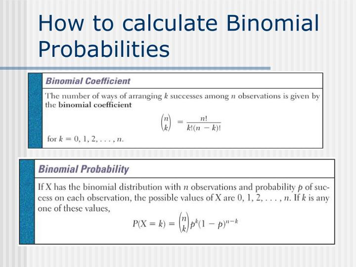 How to calculate Binomial Probabilities