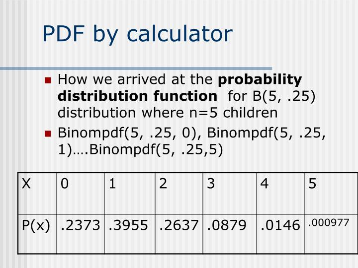 PDF by calculator