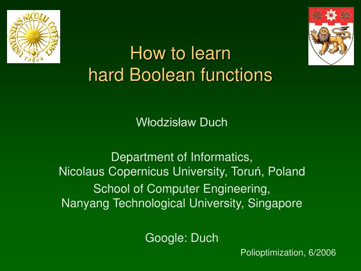 how to learn hard boolean functions n.