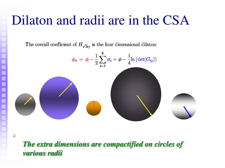 Dilaton and radii are in the CSA