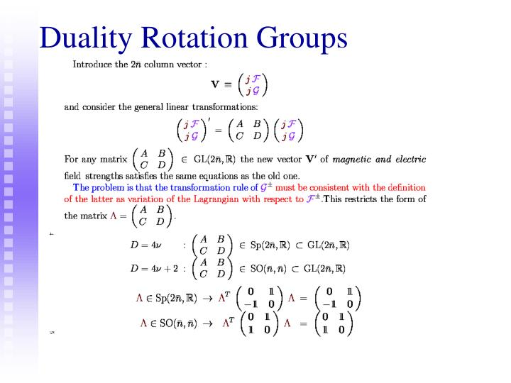 Duality Rotation Groups