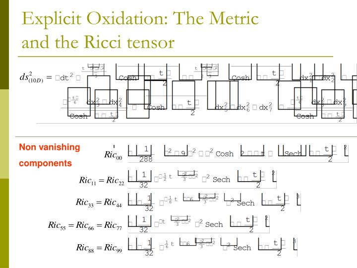 Explicit Oxidation: The Metric