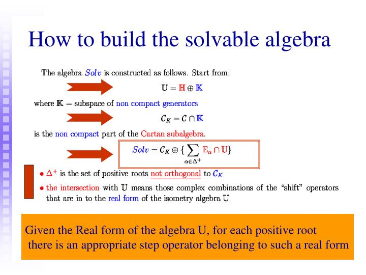 How to build the solvable algebra