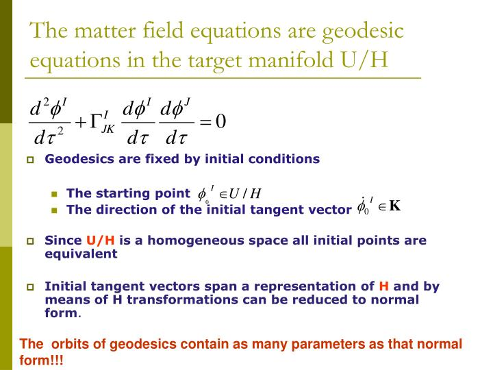 The matter field equations are geodesic equations in the target manifold U/H