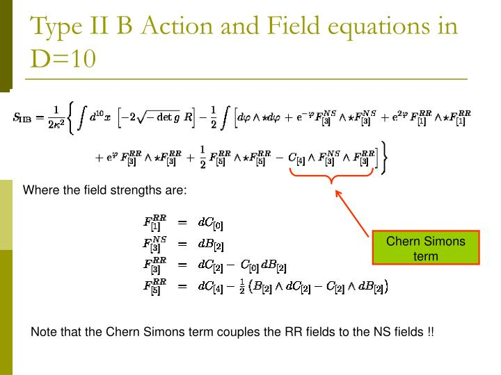 Type II B Action and Field equations in D=10