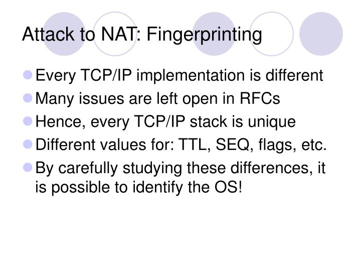 Attack to NAT: Fingerprinting