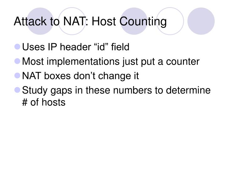 Attack to NAT: Host Counting