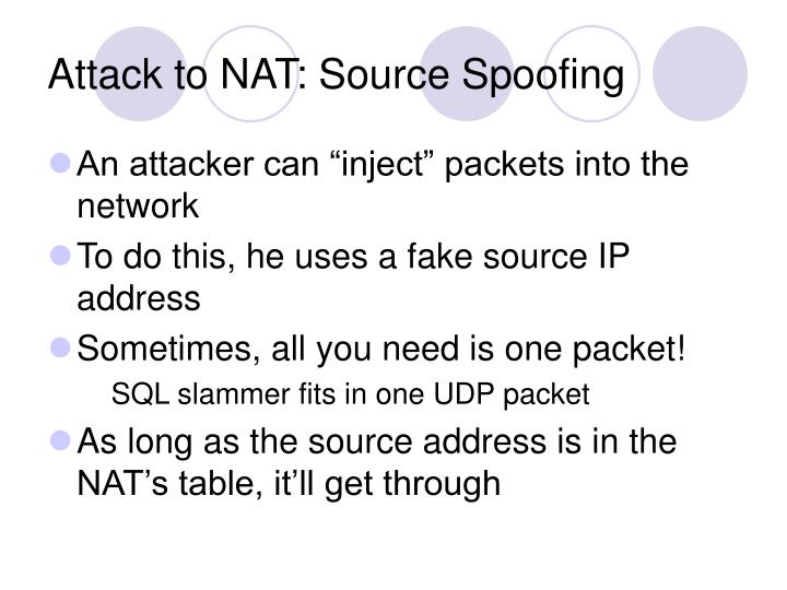 Attack to NAT: Source Spoofing