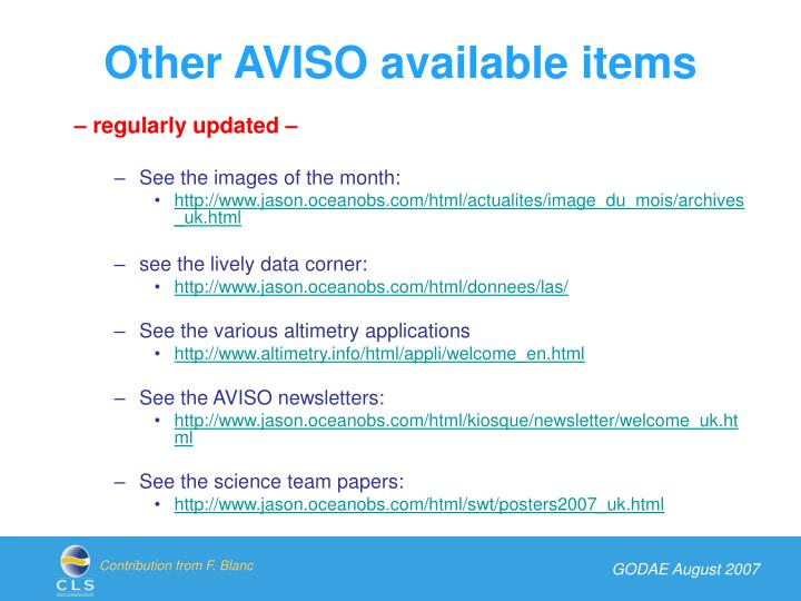 Other AVISO available items