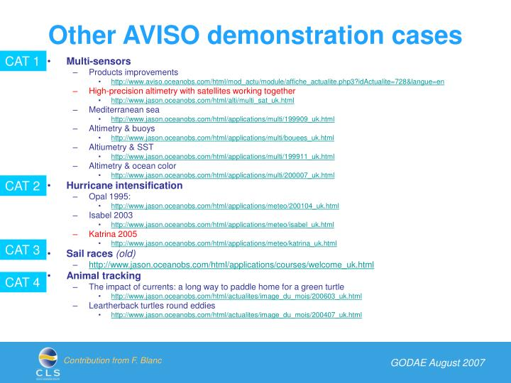 Other AVISO demonstration cases