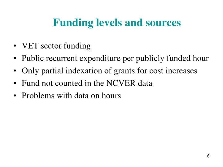 Funding levels and sources