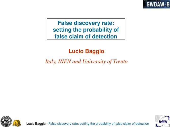 PPT - False discovery rate: setting the probability of ...