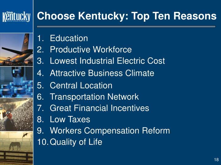 Choose Kentucky: Top Ten Reasons