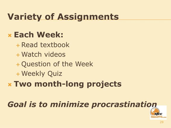 Variety of Assignments