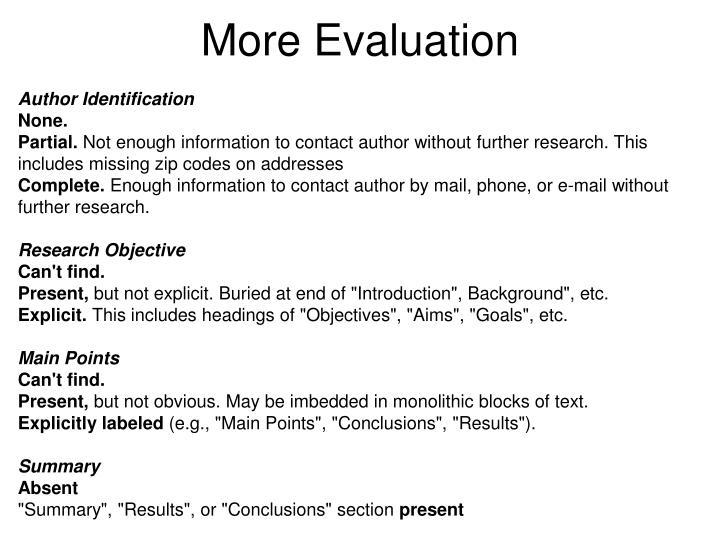 More Evaluation