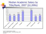 median academic salary by title rank 2007 1 000s