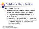 predictors of hourly earnings