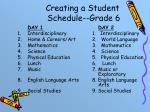 creating a student schedule grade 6