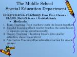 the middle school special education department