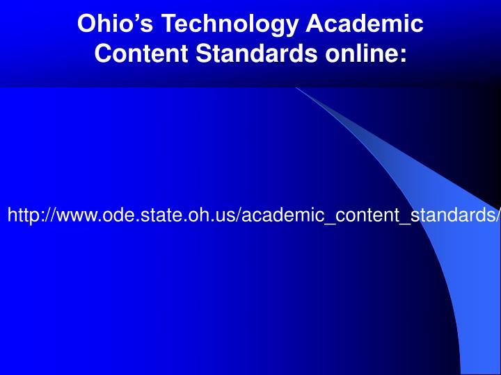 Ohio's Technology Academic Content Standards online: