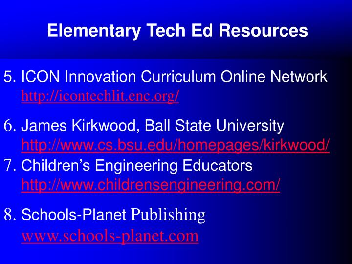 Elementary Tech Ed Resources