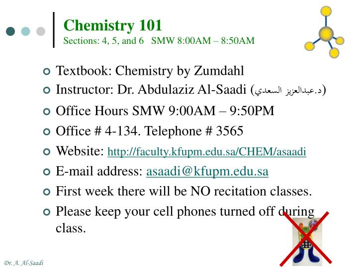 chemistry 101 sections 4 5 and 6 smw 8 00am 8 50am n.