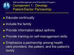 asthma management and prevention program component 1 develop patient doctor partnership1