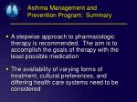 asthma management and prevention program summary