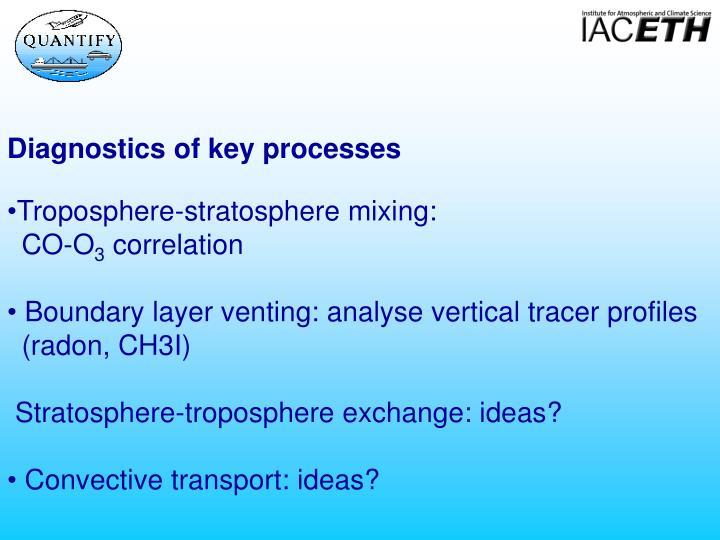 Diagnostics of key processes