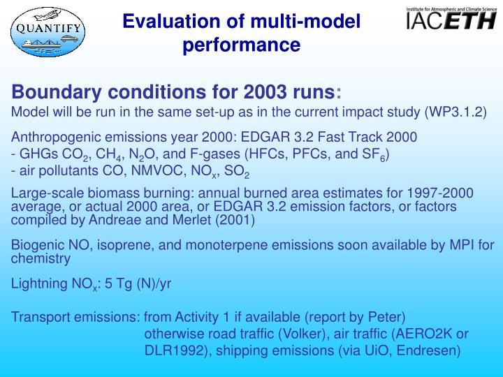 Evaluation of multi-model performance